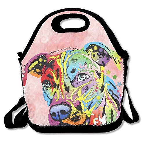 (Neon Pitbull Colorful Dog Face Lunch Bags Insulated Travel Picnic Lunchbox Tote Handbag With Shoulder Strap For Women Teens Girls Kids Adults)