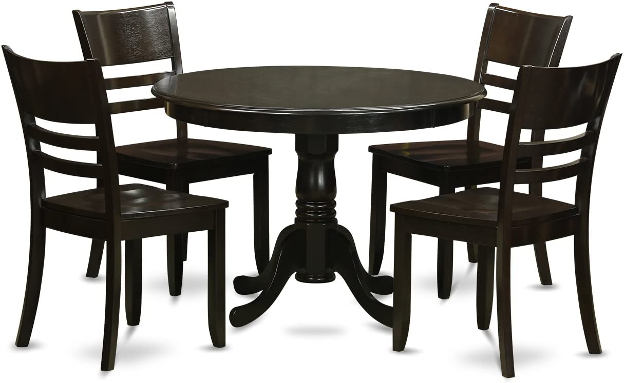 HLLY5-CAP-W 5 PC small Kitchen Table and Chairs set-Dining Table and 4 dinette Chairs