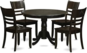East West Furniture HLLY5-CAP-W 5-Piece Kitchen Table and Chairs Set, Cappuccino Finish