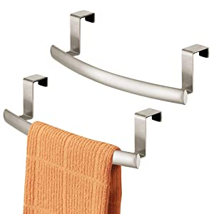 "mDesign Modern Metal Kitchen Storage Over Cabinet Curved Towel Bar - Hang on Inside or Outside of Doors, Organize and Hang Hand, Dish, and Tea Towels - 9.7"" Wide, 2 Pack - Satin"