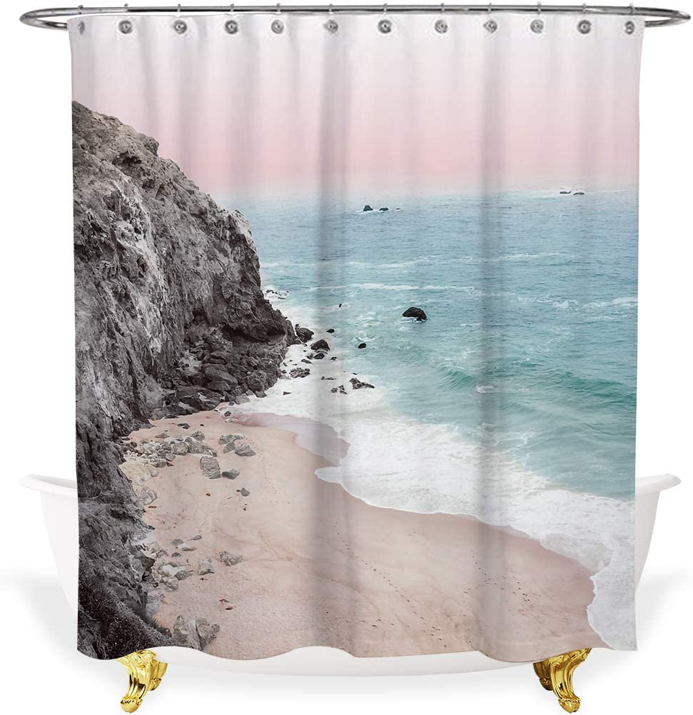 Alimumu Beach Shower Curtain,72-inch Fabric cutains for Bathroom Decor,Colorful Coastal Theme incloud Blue Ocean Pink Sky Grey Mountain Tan Sand,Unique 3D Printing,Polyester Bath Curtain with Hooks.