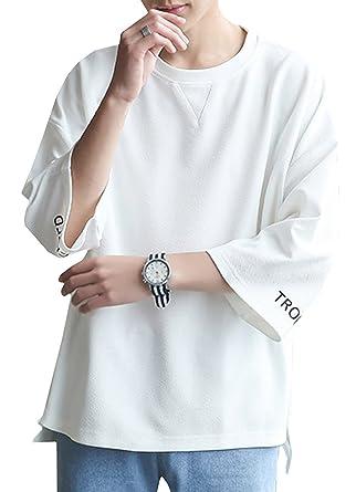b6b24451d5fc0d Amazon | 夏服 メンズ Tシャツ 七分袖 カットソー 無地 柔らかい おしゃれ 軽い カジュアル スポーツ シンプル 快適 オールシーズン |  Tシャツ・カットソー 通販