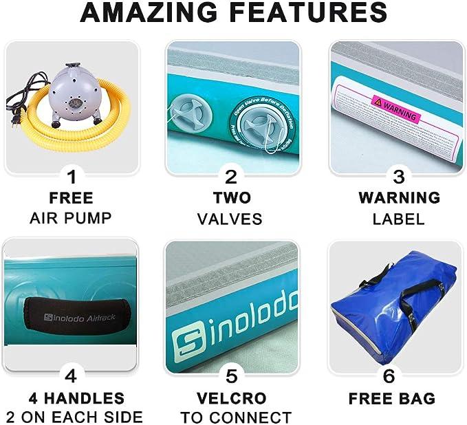 Lamlingo Bande de connecteur de Velcro de Voie dair de Longueur de 60cm 600W 800W 1200W pour la Gymnastique de culbutage Gonflable dAirtrack//Yoga//Taekwondo//Camping Pompe /électrique 500W