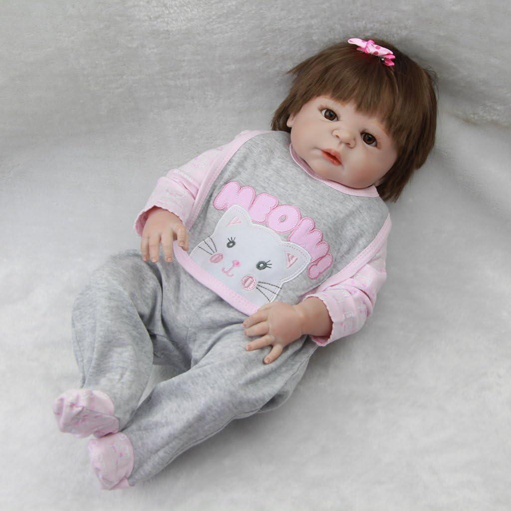 non-brand Mamelucos Ocasional + Pantalones + Babero Accesorios para 22 Pulgadas - 23 Pulgadas Bebé Recién Nacido Muñecas - A