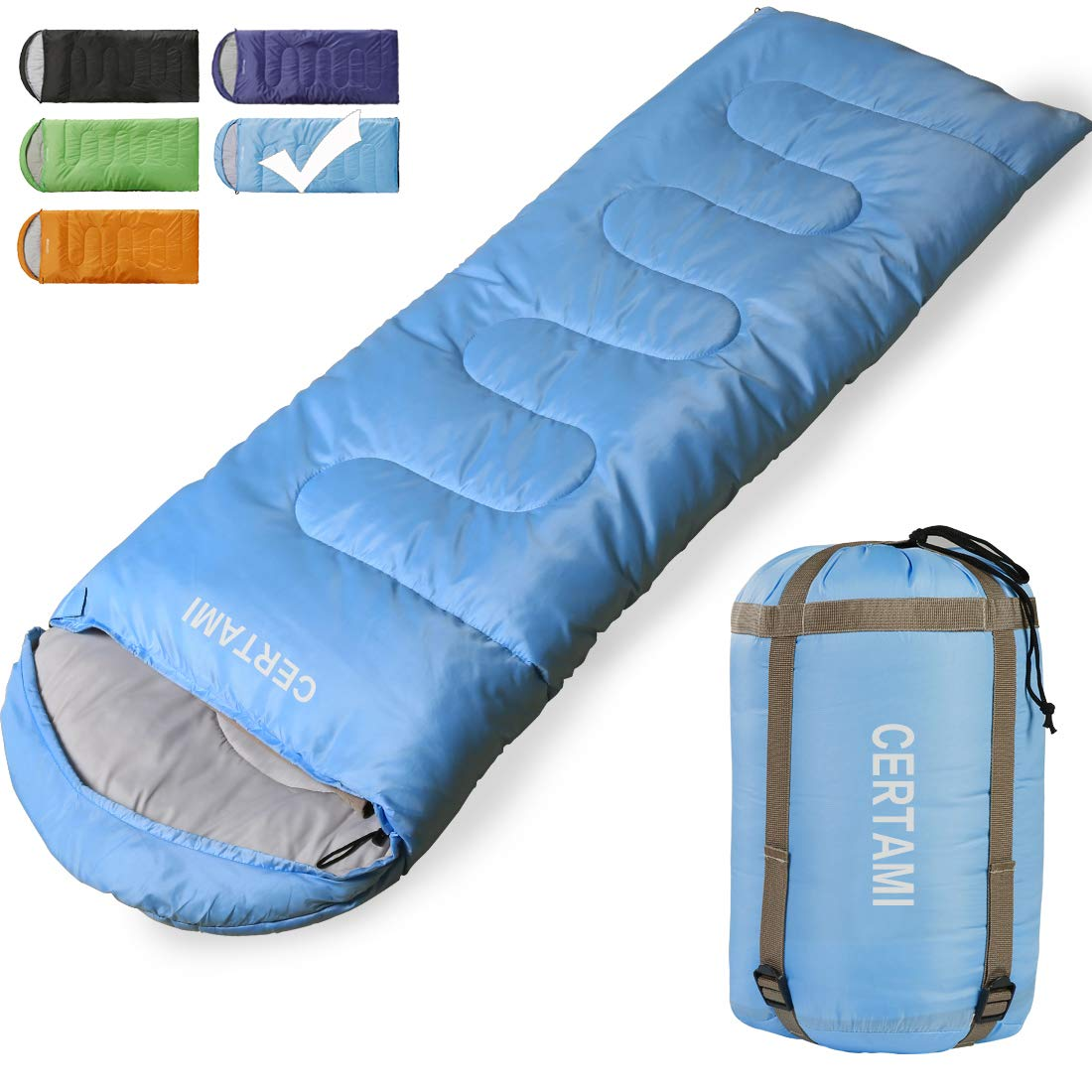 CER TAMI Sleeping Bag for Adults, Girls & Boys, Lightweight Waterproof Compact, Great for 4 Season Warm & Cold Weather, Perfect for Outdoor Backpacking, Camping, Hiking. (Sky Blue/Left Zip) by CER TAMI