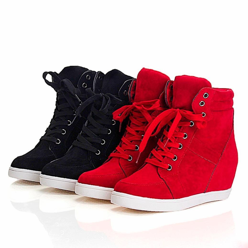 12a89fe1fc84 OHQ Wedge Lacets Bottes Courtes Femmes Chaussures Rouge Noir Mode Round Toe  en Cuir Casual Party Shoes Blanchenew Balance Femme: Amazon.fr: Chaussures  et ...