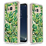 True Color Case Compatible with Samsung Galaxy S8 Plus Case - Clear-Shield Tropical Monstera Leaves Printed on Clear Back - Soft and Hard Thin Shock Absorbing Protective Bumper Cover