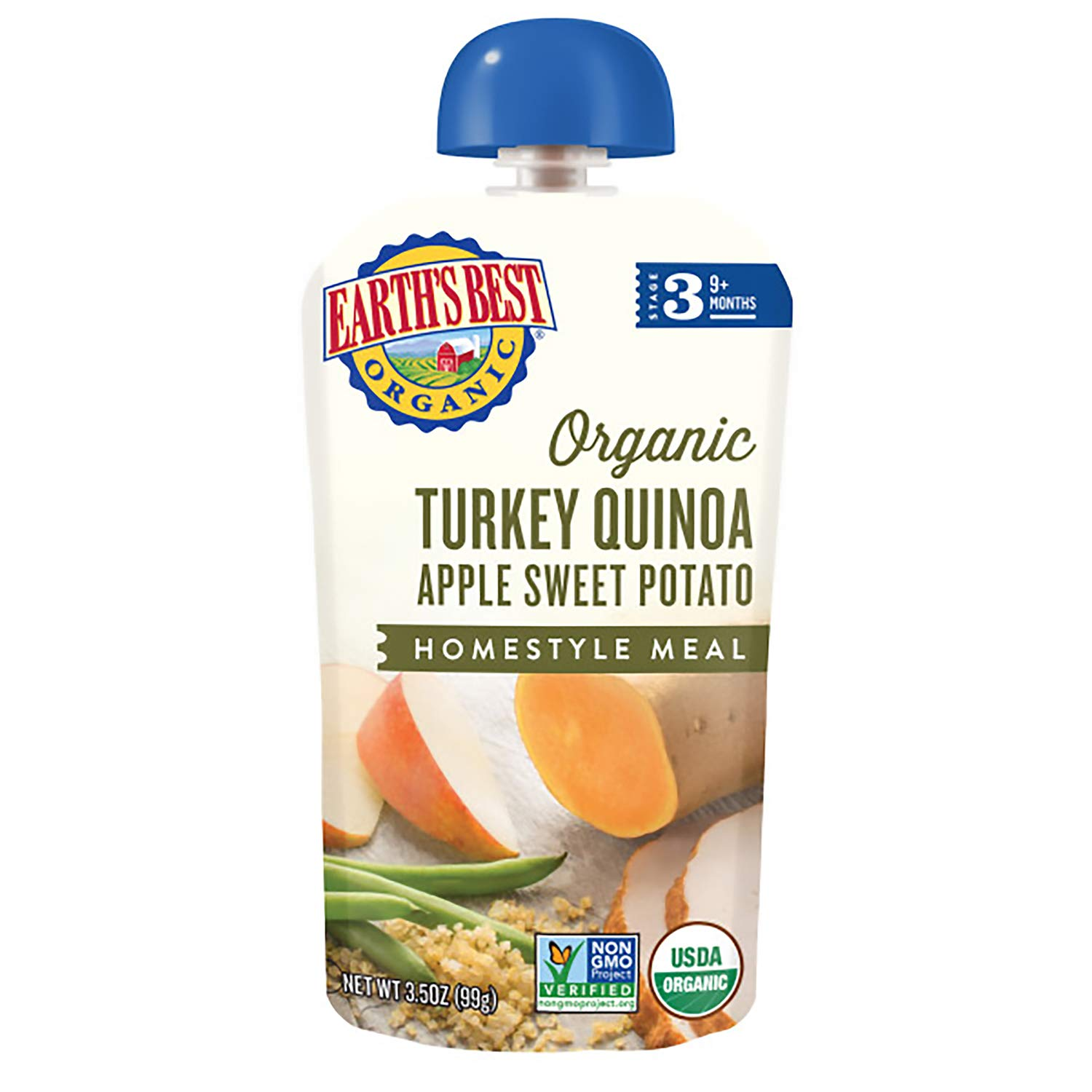 Earth's Best Organic Stage 3 Baby Food, Turkey Quinoa Apple Sweet Potato, 3.5 Oz Pouch (Pack of 6)