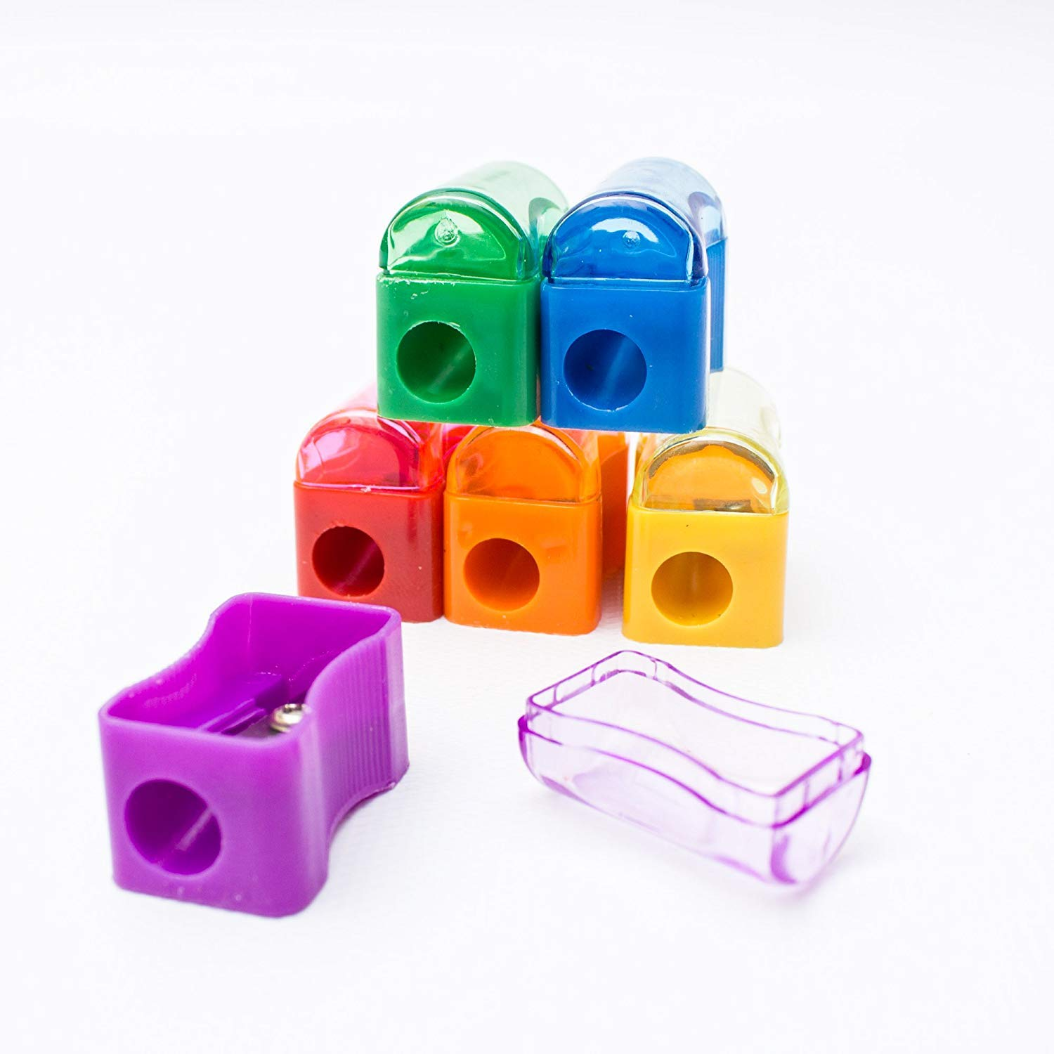 Fun Wave 72 Pack Kids Plastic Manual Pencil Sharpener with Receptacle- Multicolor Assortment- for Home and School Give Aways Gifts Great for Goodie Bags Office School Supplies