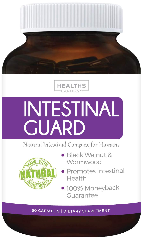 Intestinal Guard (Non-GMO) Intestinal Support for Humans - Wormwood & Black Walnut - 60 Capsules