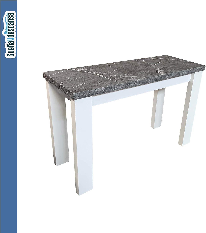 Sueña y Descansa Mesa Consola Extensible Blanca y Marmol: Amazon ...