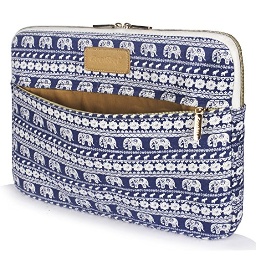 CoolBELL 17.3 Inch Laptop Sleeve Case Cover with Elephant Pattern Ultrabook Sleeve Canvas Bag for Ultrabook Brand Like Tablet/Lenovo/Dell/Acer/Women/Men,Blue