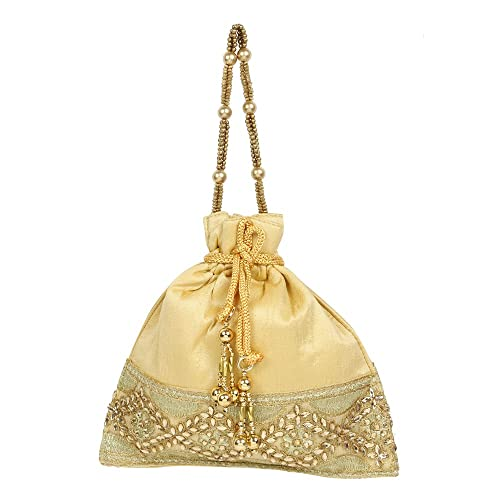 Purse Collection Gold Colour Beautiful Drawstring