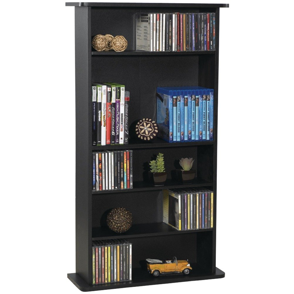 Media Storage Shelving Organizer Wooden Bookcase Bookshelf Holder Cabinet Home