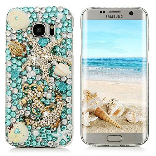 S7 Edge Case,Samsung Galaxy S7 Edge Case - Mavis's Diary 3D Handmade Blue Ocean Series Full Diamonds Bling Crystal Golden Anchor Starfish Cute Shells Design [Full Edge Protection] Clear Hard PC Cover