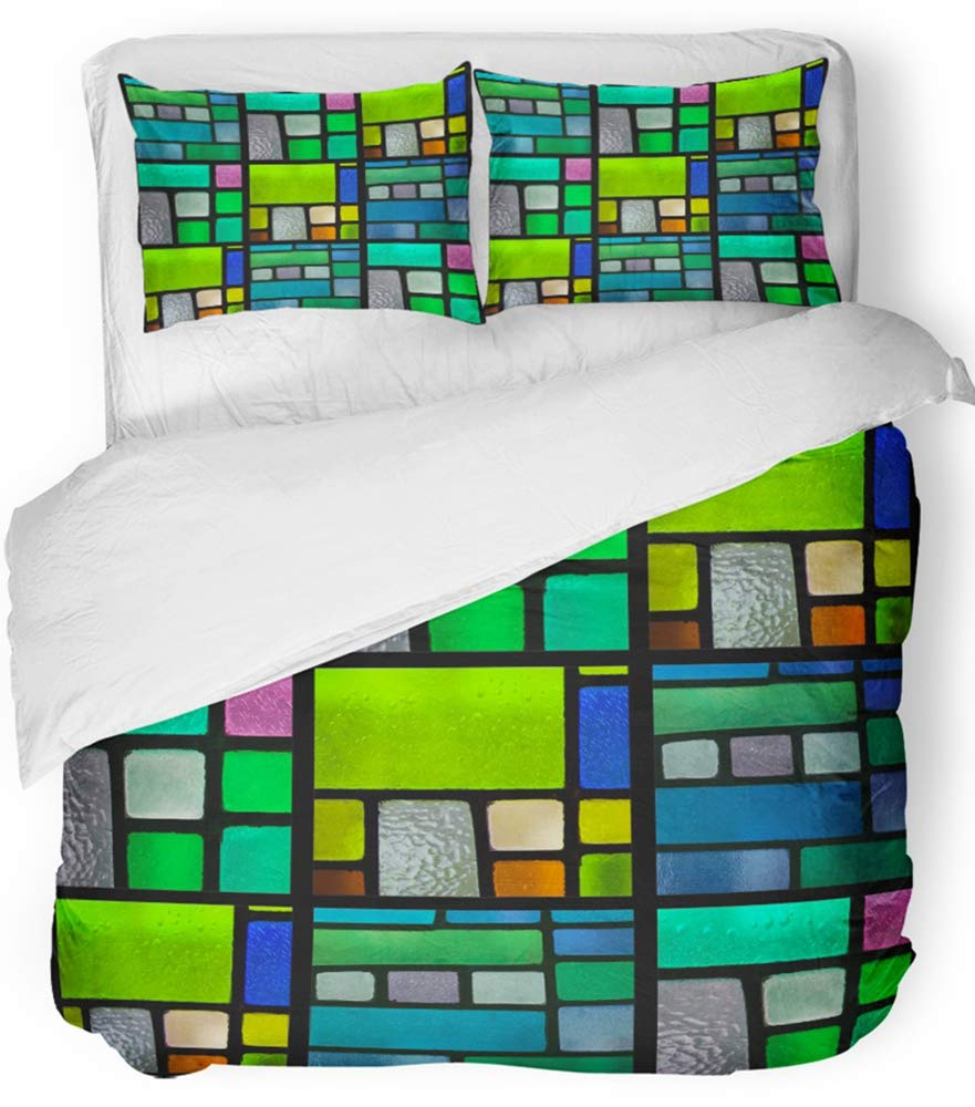 Emvency 3 Piece Duvet Cover Set Breathable Brushed Microfiber Fabric Purple Mosaic Stained Glass Window Pattern with Blue Green Tone Orange Emerald Bedding Set with 2 Pillow Covers Full/Queen Size