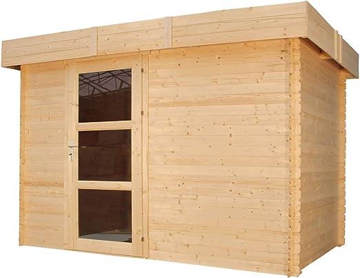 TIMBELA Timebela M373A - Caseta de jardín de Madera Exterior - caseta de Abeto - Techo Plano - 5, 4 m2: Amazon.es: Jardín