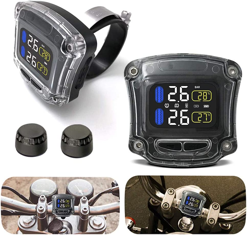 omufipw Sistema de monitoreo de presi/ón de neum/áticos TPMS para Motocicleta con 2 sensores Manillar de Moto Pantalla LCD Impermeable