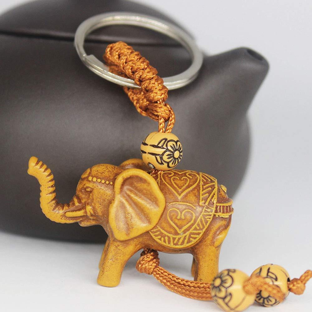 Elefante Llavero Lucky Men Mujeres Elefante Llavero Tallado Colgante de Madera Llavero Regalo