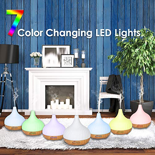 Ceramic Oil Diffuser 300ML Scent and Fragrance Air Aromatherapy Humidifier with 7 Color LED Night Lights White (Without Bluetooth)
