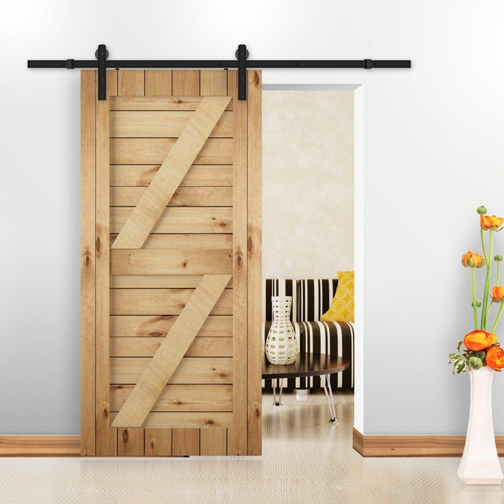 Hahaemall 6.6FT/ 2m Modern Decorative Interior Antique Roller Steel Sliding Single Barndoor Door Hardware Track Roller Hanging Door Set