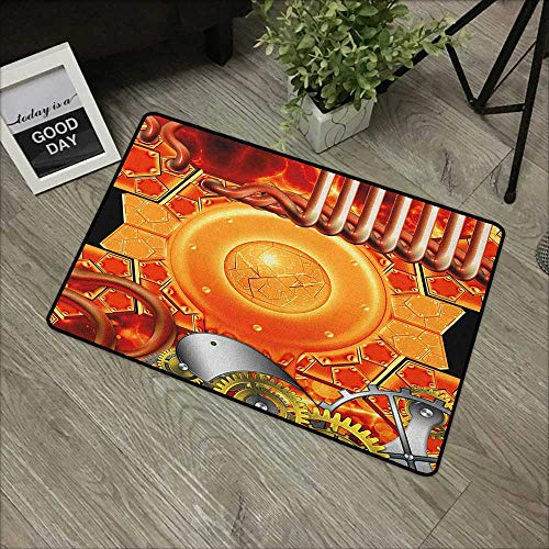 Bathroom Door mat W19 x L31 INCH Steampunk,Steampunk Retro Mechanism Antique Engine Gear Ancient Technology Vibrant Colors, Multicolor with Non-Slip Backing Door Mat Carpet