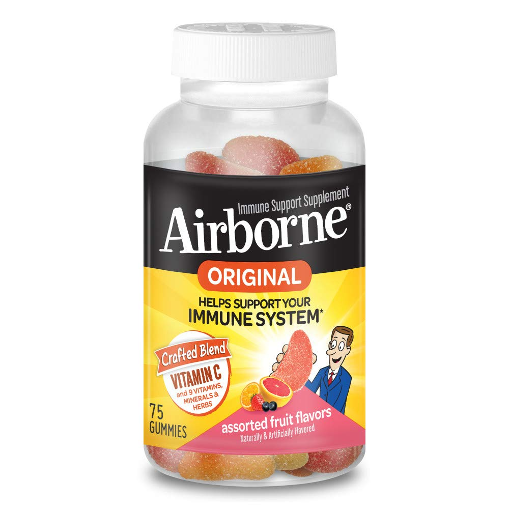 Vitamin C 750mg - Airborne Assorted Fruit Flavored Gummies (75 count in a bottle), Gluten-Free Immune Support Supplement with Echinacea and Ginger, Packaging May Vary by Airborne