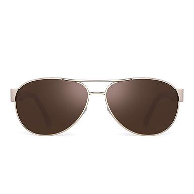 JIM HALO Polarizadas Aviador Espejo Gafas de Sol Para Mujer Hombre Marco UV400(Marco Dorado