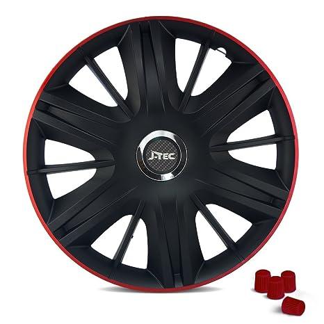 CM DESIGN Universal Tapacubos (Negro & borde rojo) apto para casi todos los vehículos
