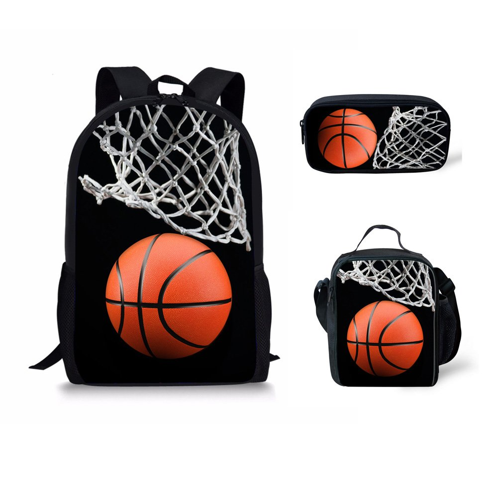 doginthehole Basketball Print Backpack One Set 3 Piece Boy Girls Rucksack School Bags