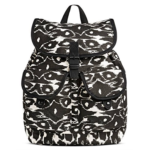 Dickies Cotton Canvas Gypsy Top Flap Knapsack, Black Modern Ikat (Dickies Mini)