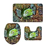 Showudesigns 3D Wood Animal Washable Non Slip Bathroom Mat Rugs Thicken Toilet Seat Lid Cover