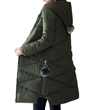 Abetteric Womens Snowsuit Down Pure Color Slim Quilted Jacket At