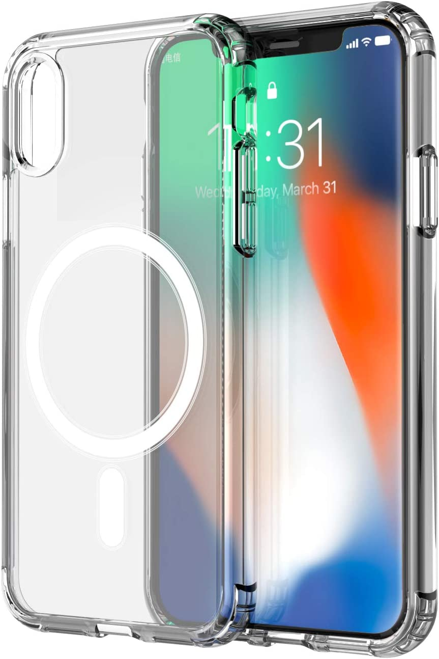 amCase Clear Case with Built-in Magnets Compatible with Mag-Safe, iPhone X/Xs (5.8