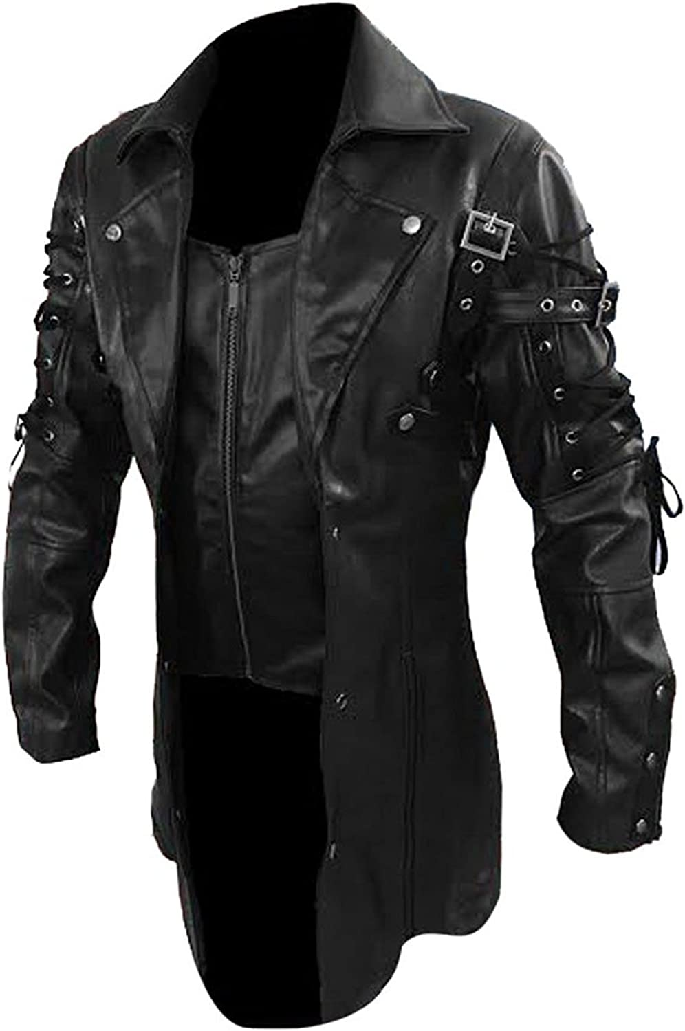 Mens Real Black Leather Goth Matrix Trench Coat Steampunk Gothic Real Leather Coat
