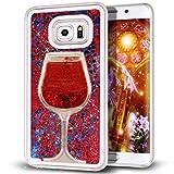 Galaxy S7 Edge, Galaxy S7 Edge Liquid Glitter Case, QKKE [Wine Glass Quicksand] 3D Glitter Bling Hearts Flowing Liquid Heart Clear Hard Case for Samsung Galaxy S7 Edge(Star Red)