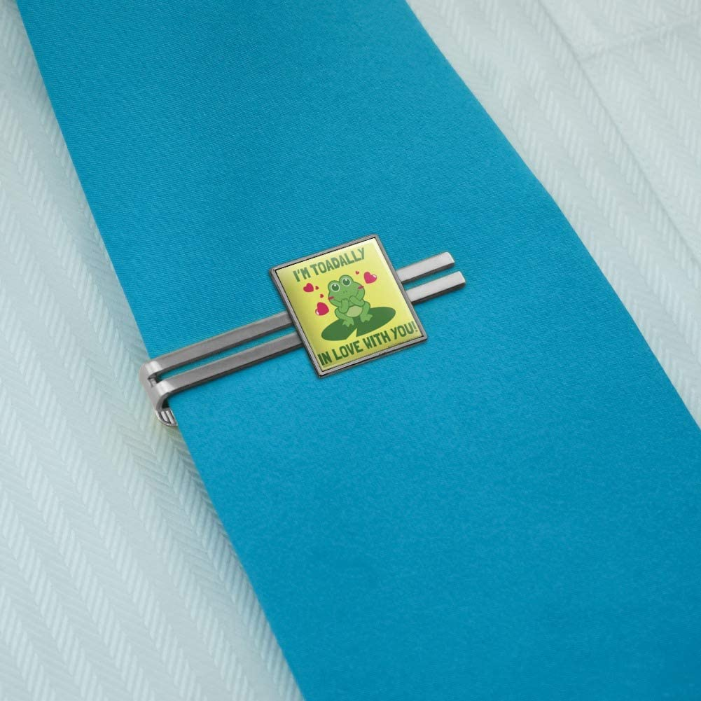GRAPHICS /& MORE Im Toadally Totally in Love with You Frog Valentine Funny Humor Square Tie Bar Clip Clasp Tack Silver or Gold