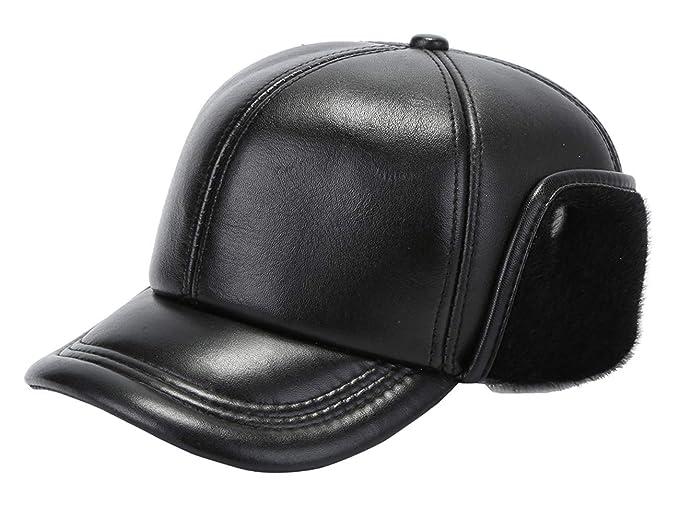 0e78f3a5897ee Gemvie Men s Sheepskin Aviator Baseball Cap Genuine Leather Fleece Winter Ear  Flaps Hunting Trapper Bomber Cap