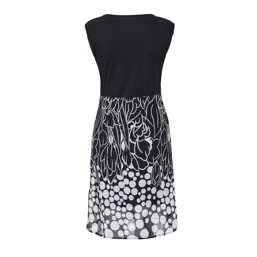 Women's Sleeveless V-Neckline Lace Top Plus Size Cocktail Party Pots Printed Swing Dress (XL, Black) by Twinsmall (Image #6)