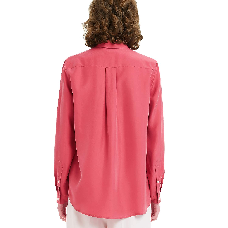 NEW DANCE Dam 100 % silke knapp v-hals ner långärmad blus dam kontor arbete tröjor toppar Raspberry Milk