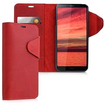 kalibri Funda para LG G6 - Carcasa con [Tapa magnética] de [Cuero] - Case de Piel Real en [Rojo Oscuro]