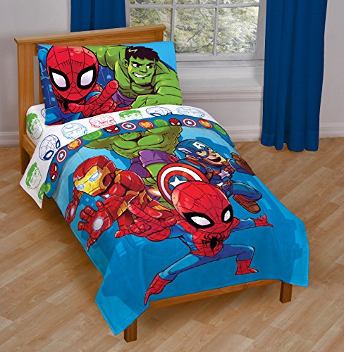 Jay Franco Marvel Avengers Heroes Amigos 4 Piece Toddler Bed Set – Super Soft Microfiber Bed Set – Bedding Features Captain America, Hulk, Iron Man, and Spiderman (Official Marvel Product) 7