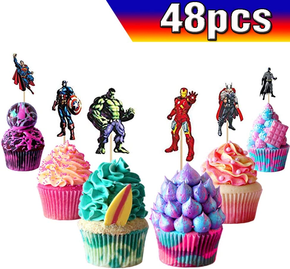 Swell Amazon Com Superhero Cupcake Toppers Avengers Cupcake Toppers Funny Birthday Cards Online Elaedamsfinfo