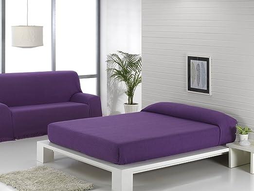 Texturas VIP - Colcha Multiusos ZIG-Zag Sofá y Cama Low Cost (Varios tamaños Disponibles) (125_x_180_cm, Morado-Marino)