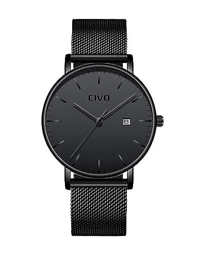 CIVO Relojes para Hombres Ultra Fino Minimalista Reloj de Pulsera Lujo Elegante Negocio Moda Caballeros Reloj