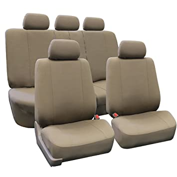 FH Group Universal Fit Multifunctional Flat Cloth Car Seat Cover Taupe Airbag
