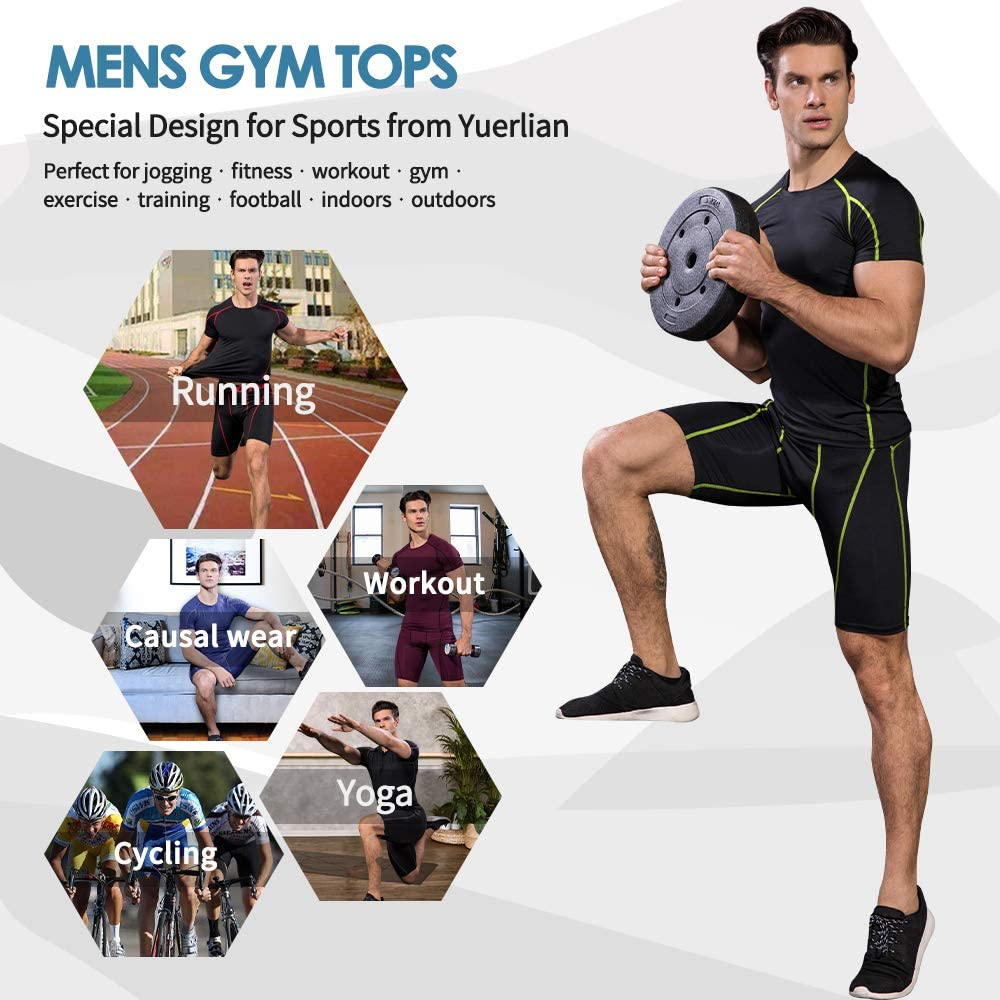 Yuerlian Mens Running Tops Base Layers Compression Top Short Sleeve Shirt Quick Dry Workout T Shirts