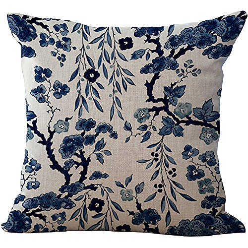 ChezMax Blue and White Porcelain Chair Back Cushion Cover Linen Throw Pillow Case Cotton Pillowslip Square Decorative Pillowcase for Kitchen Chinese Flowers 18 X 18'' ()