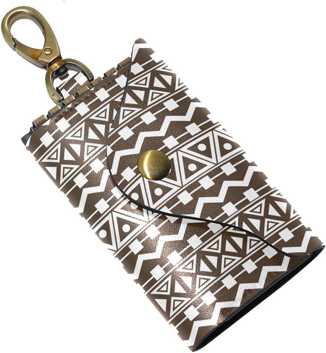 KEAKIA Cross Designs Leather Key Case Wallets Tri-fold Key Holder Keychains with 6 Hooks 2 Slot Snap Closure for Men Women
