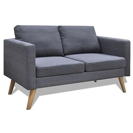 vidaXL Divano in tessuto a 2 posti grigio scuro divanetto sofa ...